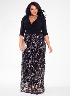 IGIGI Women's Plus Size Tora Gown in Golden Swirl A luxe embellished, floor sweeping length skirt combined with a stunning black bodice make our Tora Gown a Plus Size Prom, Plus Size Gowns, Plus Size Outfits, Plus Size Evening Gown, Evening Gowns, Curvy Fashion, Plus Size Fashion, Fashion 2015, Fashion Outfits