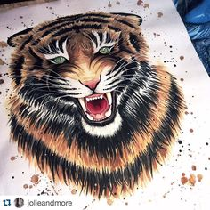 Artwork by @jolieandmore. Join the #inspiringpieces Talent Pool! #illustrator #tiger #painting #art #watercolor #illustration #inspiring #inspiration #colors #animal