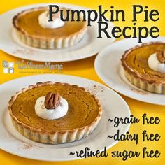 Grain free, dairy free individual pumpkin pies - perfect for Thanksgiving!