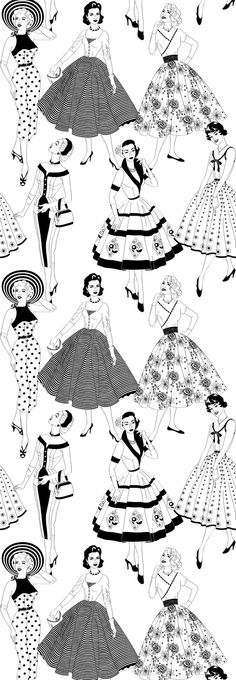Part of my Mid-Century range, this design was inspired by dress-making sewing patterns from the 1950s.  This Vintage Dress wallpaper is the epitome of style. Strike a pose!