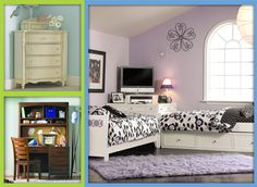 Great for using corners in youth bedroom - twin bed corner unit, corner chest