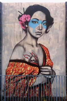 "Fin DAC ""Orinoko"" New Street Art - Wynwood, Miami Don't like the blue around the eyes, but love the rest! Urban Street Art, 3d Street Art, Street Art Graffiti, Street Artists, Banksy, Murals Street Art, Mural Art, Art Art, Graffiti Murals"