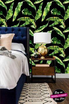 watercolor tropical banana leaves - wall art decor - Removable Self Adhesive peel and stick wallpaper / wall mural  #39