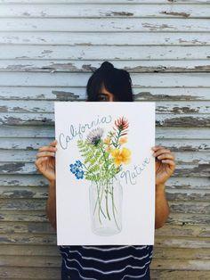 California Wildflowers Art  Original Gouache by FrancesMarin