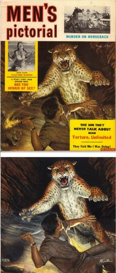 MORT KÜNSTLER - Attacking Jaguar in Cave - Aug 1956 Men's Pictorial - items by pulpcovers