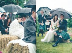 Offering blankets and umbrellas is a nice gesture for the couple, wedding party and guests during a chilly or rainy wedding :: Andrea Ellison Photography | wedding | outdoor wedding | umbrellas | blankets