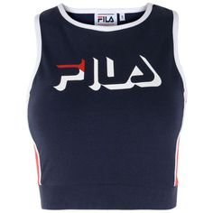 Fila Heritage Top ($46) ❤ liked on Polyvore featuring tops, shirts, crop top, tank tops, dark blue, sleeveless crop top, fila shirt, sleeveless shirts, blue shirt and stretch crop top