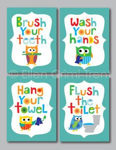 Look at this Ellen Crimi-Trent Teal Owl Bathroom Print Set on today!