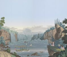 Scenic wallpaper: Niagara Falls from Views of North America. Produced by Zuber. Rixhem, Alsace, France, designed 1834. Museum purchase from General Acquisitions Endowment and Pauline Cooper Noyes Funds.