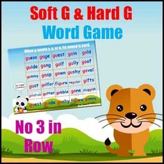 No Three in a Row Word Game - focuses on Soft G & Hard G Sounds Phonics Games, Games W, Word Games, G Sound, G Words, Printable Board Games, Soft G, Gillingham, Color Games