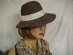 Brown wool fedora hat with wide grosgrain ribbon band by designer2, $25.00