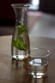 Water with fresh mint leaves