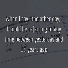 "When I say ""the other day,"" I could be referring to any time between yesterday and 15 years ago....LOL, so true! =)"