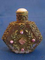 Antique Czech Miniature fancy crystal Perfume bottle Jeweled , metal mounted