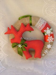 Karácsonyi pöttyös - pihés ajtódísz, Baba-mama-gyerek, Dekoráció, Karácsonyi, adventi apróságok, Mindenmás, Meska