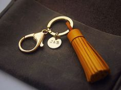 Personalized Leather Gift, Leather bagcharm, Leather Tassel Keychain, Leather name keychain, Initial Charm Keychain
