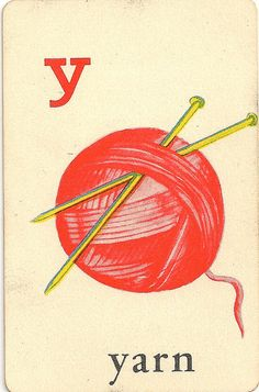 """Y"" is for 'yarn' ~ Vintage Children's Sewing Flash Card"