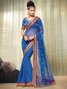 A rich #traditional #color #combo goes a long way for any occasion!  Is it one of your preferred color choices?  Shop this just a click away -http://www.saree.com/blue-net-saree-with-zari-embroidery-worksaaa4066
