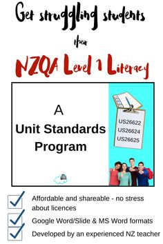 Get your students their Level 1 literacy with this Unit Standards programme providing multiple task options for the key standards - All the work is done for you. Complete work booklets for students to fill in digitally or by hand if you're printing. Teaching English, Learn English, Literacy Strategies, Share Online, High School Students, Stress Free, Learning Activities, Booklet, The Unit