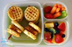 Mini Chicken & Waffle Sandwiches - packed in #Easylunchboxes