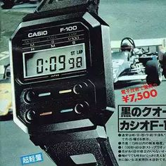 Casio F-100 Digital Watch Casio Vintage Watch, Casio Watch, Vintage Watches, Nerd Chic, 80s Design, Cool Watches, Wrist Watches, Timex Watches, Watch Ad