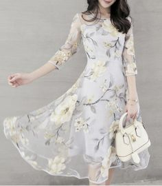Chic Women's Voile Spliced 3/4 Sleeve Jewel Neck Flower Dress Print Dresses | RoseGal.com Mobile
