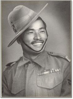 Rifleman Bhanbhagta Gurung, 2nd KE VII's Own Gurkha Rifles (The Sirmoor Rifles), won the Victoria Cross in Burma on 5th March 1945. Whilst his company was attacking a Japanese position known as Snowden East he with total disregard for his own safety , single handedly took out 4 Japanese foxholes, stillunder fire from a light MG he took out the Japanese bunker that held the gun, killing two of the bunker's garrison with his kukri.