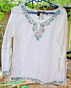 Items by Michelle Nicole White Cotton Top Hippie Boho Long Split Sleeves Size PL #ItemsbyMichelleNicole #Tunic #Casual