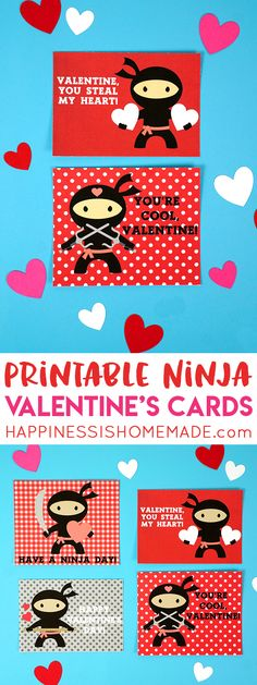 """These Ninja Printable Valentine Cards are the perfect way to say, """"I get a kick out of you, Valentine!"""" Free printable valentines for your favorite little ninja or martial arts enthusiast! Ninja Valentine, Easy Valentine Crafts, Happy Valentines Day Card, Printable Valentine, Homemade Valentines, Gift Tags Printable, Valentine Box, Valentines Day Party, Valentines For Kids"""