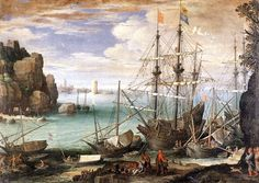 Paul Bril, View of a port, 1607
