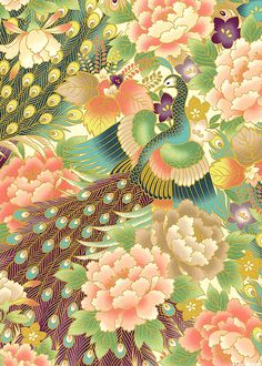 'Peacock Garden' from the 'Hyakka Ryoran Peacock' collection by Quilt Gate. Japanese import. QGPEACCR