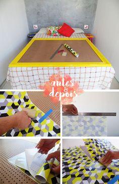 Antes e Depois Minha cabeceira de cama feita com moldura e adesivo. Blog Remobilia