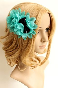 The hair clip barrette crafted in chiffon, featuring shiny sequin embellishment to bow-knot, flower embellishment to main. It makes you sweet and fashion.$20