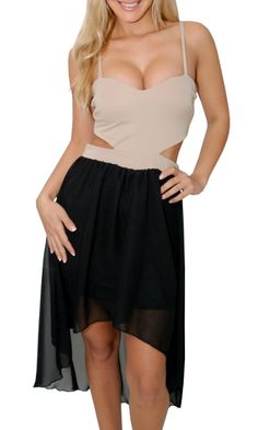 cute nude and black high low dress