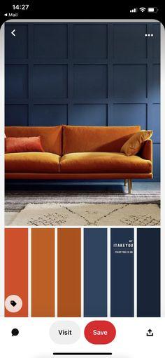 Blue And Orange Living Room, Bedroom Orange, Bedroom Colors, Blue Orange Kitchen, Dark Blue Rooms, Mauve Bedroom, Blue Bedrooms, Bedroom Decor, Rust Color Schemes