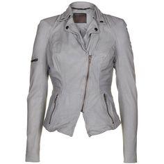 Muubaa Womens Wired Peplum Concrete Grey Leather Jacket ($590) %u2764 liked on Polyvore