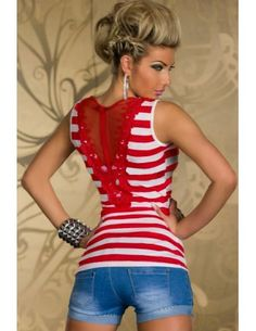 Fashion Red Pinstripes Club Top with Embroidered Lace.  This new take on the iconic tank features non-sleeves, scoopneck front with ''V'' delicate embroidered lace hollow-out back, Red and white pinstripes.  Beautiful design embroidered on back.  Wear this lovely top with jeans, shorts and skirts.  Accessorize with some sweet white or pink bangels.