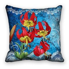 Pillow Cover Lilies Vintage Collage Botanical Lily Pillow Sham Red Blue18x18. $35.00, via Etsy.