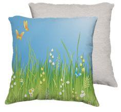Yellow , Blue , Green , Flowers , Butterflies , Spring - Pillow