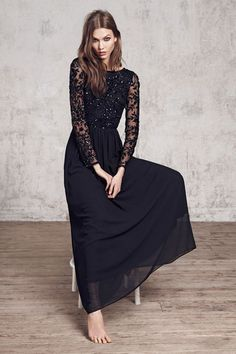 Black dress with lace and sequins / Mango winter 2013