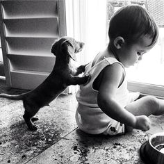 Baby + puppy = adorable