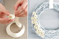 ... stylish silver and cream flowery wreath that I saw at Style at Home - See more stunning DIY Chrsitmas Wreaths at DIYChristmasDecorations.net!