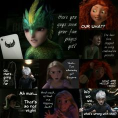 The Big Four discover fan shipping. I completely agree with Rapunzel, Hiccup and Merida. But I also agree with Jack. :P