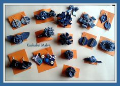 Recyclied - Denim Jewelry - brooches, earrings, hair clips hand made by Kaskabel Malva.