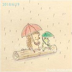 1461 雨の日、おしゃべり talking on a rainy day #illustration #hedgehog #frog #namiharinezumi #イラスト #カエル #ハリネズミ #なみはりねずみ