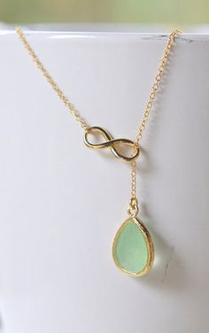 Mint Teadrop and Gold Infinity Lariat Necklace.i want this! ;)