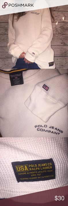 Ralph Lauren Waffle Shirt Super cozy waffle shirt by polo Ralph Lauren. This cream basic has all the branding, and can be layered for a perfect winter outfit! Awesome condition, with no stains and clean sleeves. Polo by Ralph Lauren Tops Tees - Long Sleeve