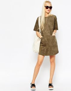 ASOS | ASOS Shift Dress in Suedette with Rib Neck and Pockets at ASOS