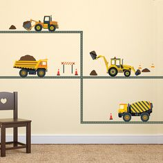 Four Construction Vehicles Wall Decals with Straight Gray Road, Fabric Decals Removable and Reusable