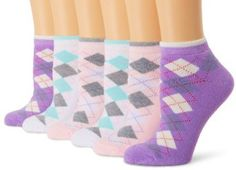 ECCO Women's Argyle Low Cut, Pink/Purple/White, 9-11 ECCO. $18.00